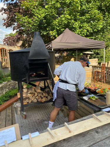 Commercial pizza oven in pub garden